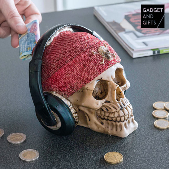 Buy gadget and Gifts Pirate Skull Piggy Bank with Earphones
